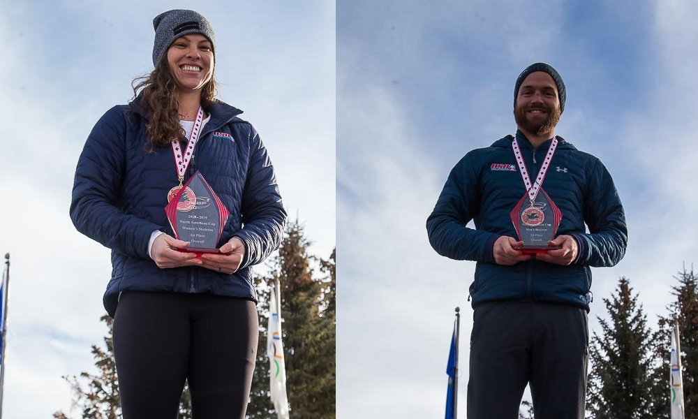 US Skeleton Athletes Kelly Curtis and Andrew Blaser Overall Winners in IBSF North American Cup