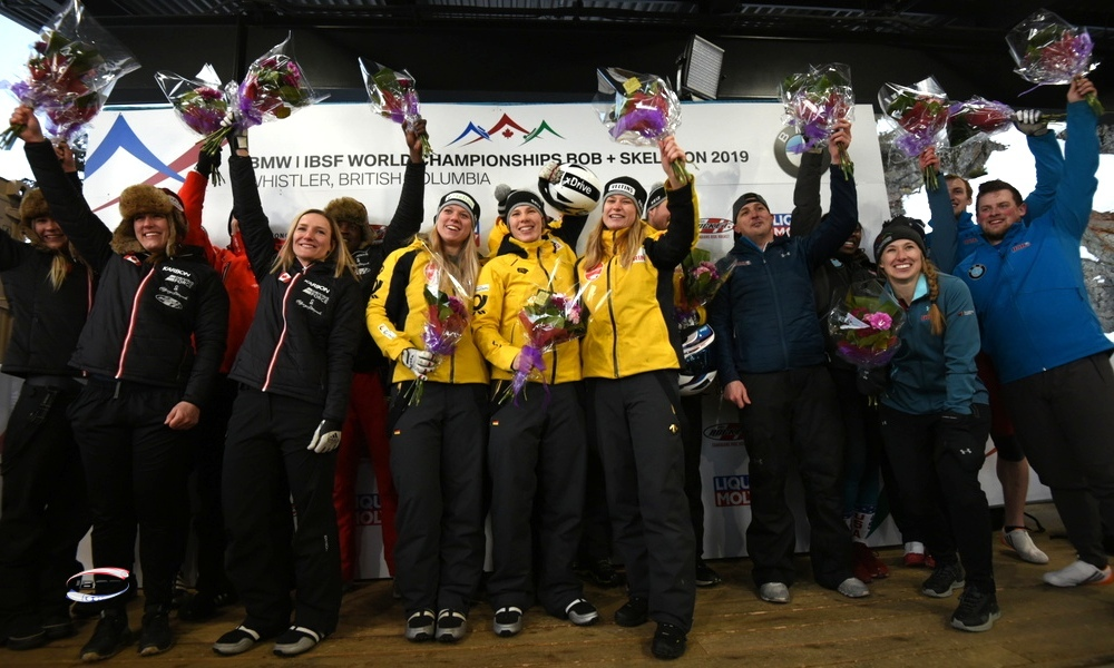 Team Germany takes gold at the BMW IBSF World Championships Bobsleigh + Skeleton