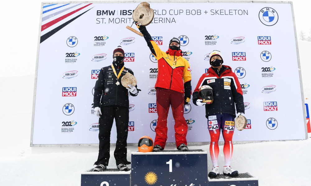 Skeleton athlete Alexander Gassner celebrates first victory in BMW IBSF World Cup