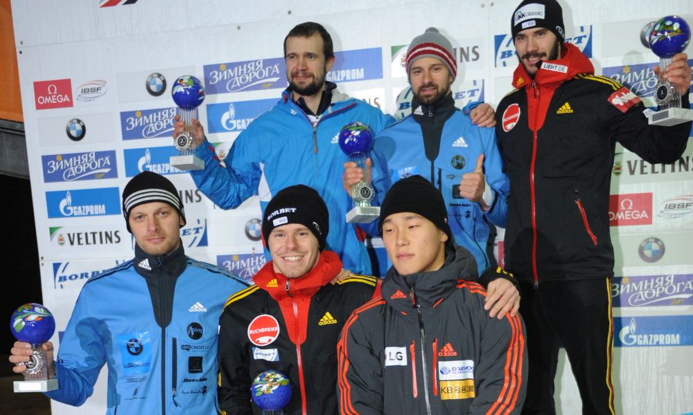 BMW IBSF World Cup Winterberg, winners skeleton men, Photo: Charlie Booker