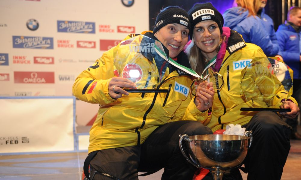 Photo (credit: Charlie Booker): Anja Schneiderheinze (left) with push athlete Annika Drazek after winning World Championships gold in Innsbruck 2016