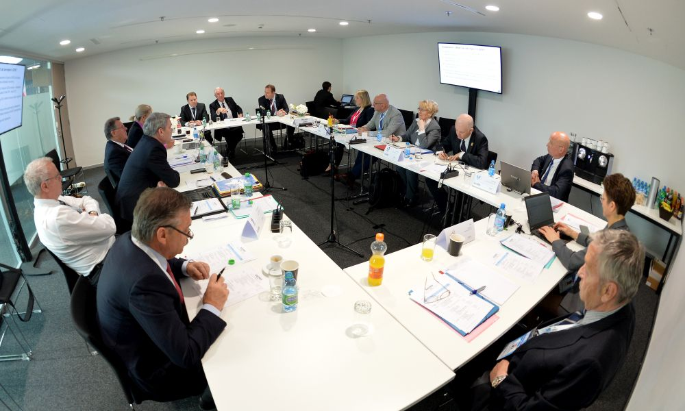 LAUSANNE, SWITZERLAND - APRIL 19 : The AIOWF General Assembly meeting during the third day of SportAccord Convention at the SwissTech Convention Centre on April 19, 2016 in Lausanne, Switzerland. (Photo by Mark Runnacles/Getty Images)