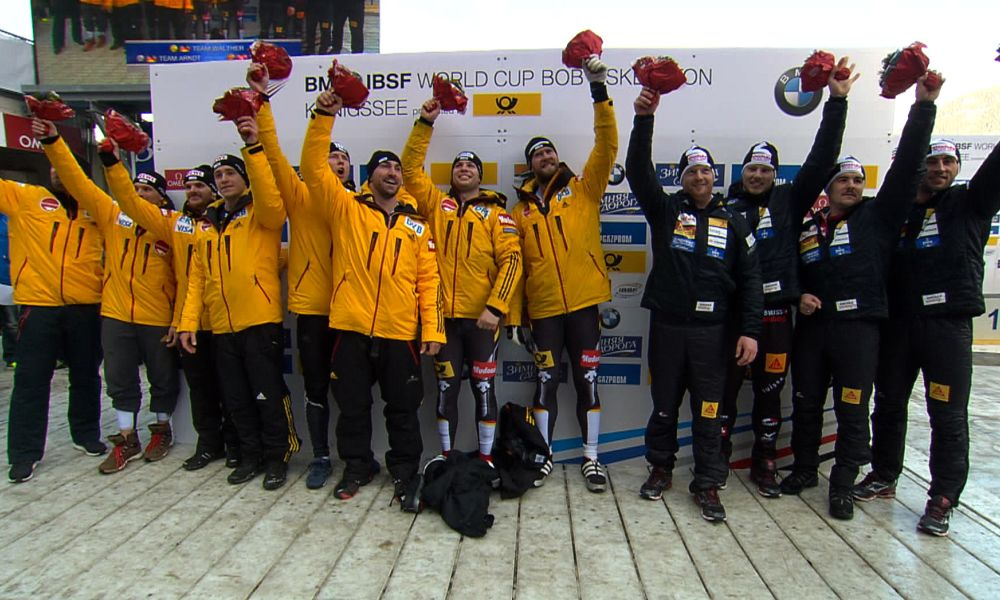 BMW IBSF World Cup, Four Man Podium Koenigssee, Photo: IBSF