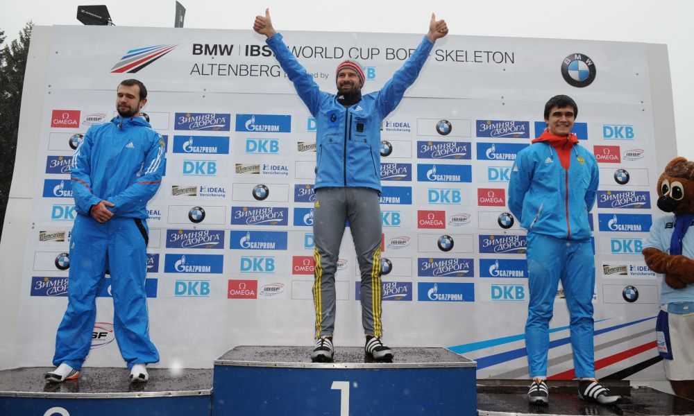 BMW IBSF World Cup Altenberg, winners skeleton men, Photo: Charlie Booker
