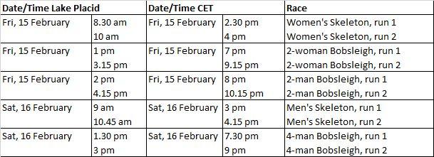 Schedule Lake Placid E
